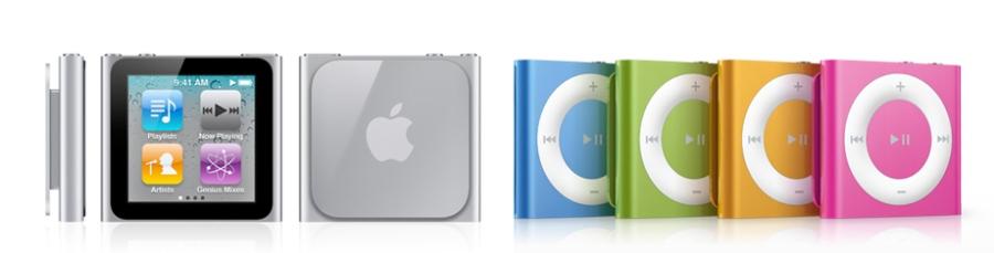 Apple iPod Nano (Mid 2010) 和 iPod Shuffle